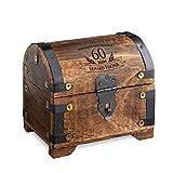 Casa Vivente Schatztruhe mit Gravur – Zum 60. Geburtstag – Personalisiert mit Namen – Aufbewahrungsbox aus dunklem Holz – Verpackung für Geld und Gutscheine – Geschenkidee für Männer und Frauen