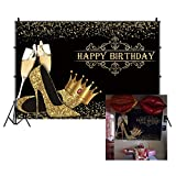 CSFOTO 8x6ft Happy Birthday Backdrop Champagne Glitter High Heels Shoes Crown Black Gold Birthday Party Background for Photography Birthday Banner Women Girls Birthday Photo Backdrop