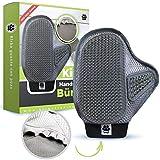 Kirba Trading  Premium Handschuhbürste für Hund & Katze (verbesserte Version) - Handschuh für effektive Fellpflege - mit extra Halt für alle Finger durch zusätzlich eingenähtes elastisches Band