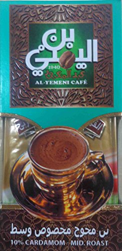 EL-YEMENI Original Turkish Coffee Cafe Arabic Arabian Arabica Ground Roasted Mud Coffee (10% Cardamom Mid.Roast 200Gm)