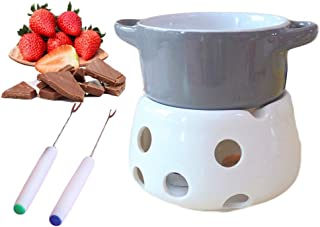 Mini Fondue Pot, Chocolate Melting Pot Porcelain Sets Nonstick Easy To Clean With 2 Forks 2-In-1, Cheese, Chocolate Fondue, CrêPes, Fun Cooking A Modern Stylish Design 5.3×5.5inch (Color : Gray)