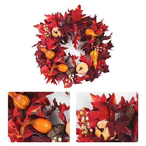 Corona de calabaza de hojas de arce artificial, corona de cosecha de otoño de 17,7 pulgadas con calabazas mixtas, bayas y hojas de arce rojo oscuro para decoración de puerta delantera