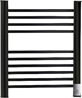 Aluminum Thermostatic Heated Towel Rail, 550 650 MM Black 10-Bar Flat Panel Heated Towel Rack Radiator (Punch Free Installation), for Bathroom