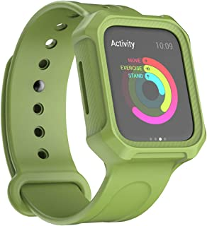 Ulife Integrated Body Design -Protective Case & Strap Bands for Apple Watch 4 (ArmyGreen, 44mm)