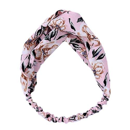 Weimay Bandoulière pour femme style floral noué élastique Head Wrap Stretchy Hair Band Accessoires (Rose)