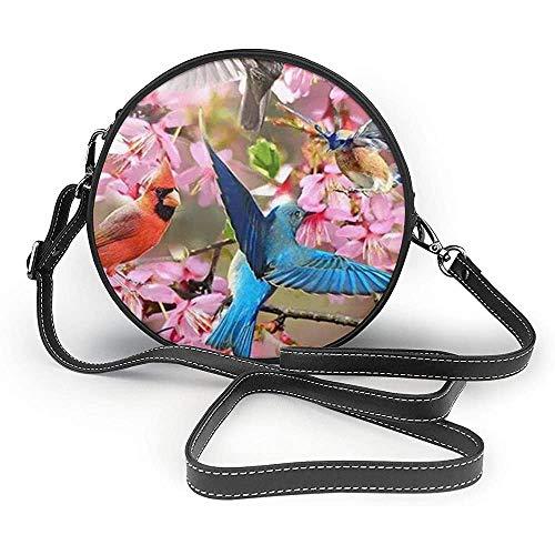 TURFED Spring Garden Print Round Crossbody Bags Mujer Bolso de hombro Correa de cadena de cuero PU ajustable y cremallera superior Bolso pequeño Asas Tote