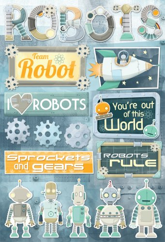 Karen Foster Design Acid and Lignin Free Scrapbooking Sticker Sheet, Robots by KAREN FOSTER