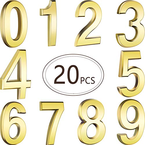 20 Pieces Self-Adhesive Door House Numbers Mailbox Numbers Street Address Numbers for Mailbox Signs, 0 to 9 (Gold,3 inch)