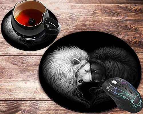 Round Mouse Pad and Coaster Set, Lion Mousepad, Non-Slip Rubber Base Gaming Mouse Pads for Working Or Game