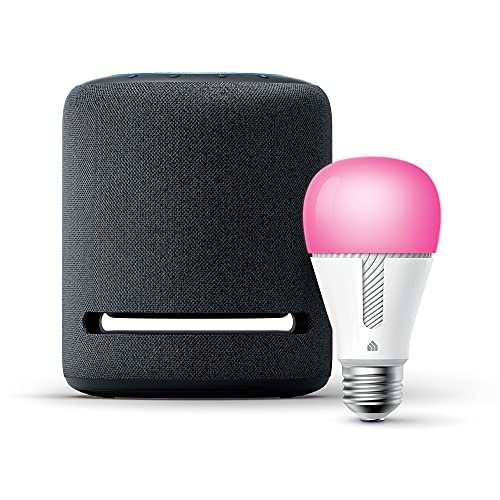 Echo Studio – High-fidelity smart speaker with TP-Link Color Bulb– Alexa smart home starter kit