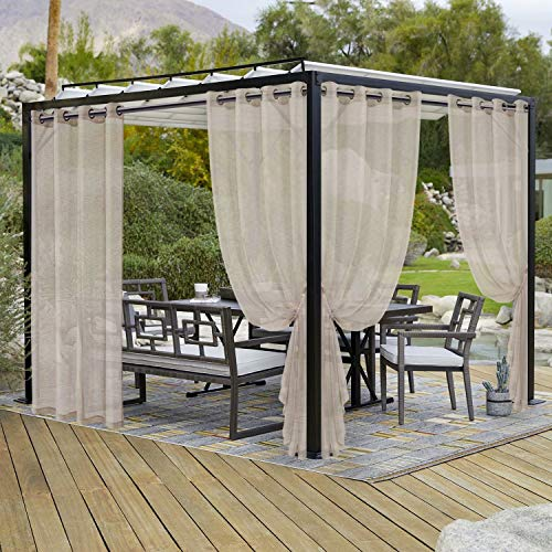 LORDTEX Burlap Linen Look Outdoor Curtains for Patio - 2 Panels Waterproof Sheer Curtains for Pergola, Porch, Cabana and Gazebo Grommet Indoor/Outdoor Voile Sheer Drapes (52 x 84 inch, Linen)