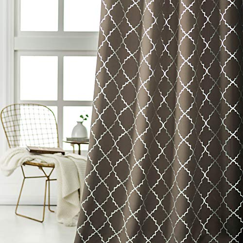 Kotile Moroccan Trellis Curtains - Silver Foil Quatrefoil Pattern Printed Blackout Curtains 63 Length for Bedroom Thermal Window Curtains Grommet Top, 52 x 63 Inch, 2 Panels, Kingsport Gray