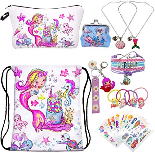 RLGPBON Gifts for Girls ,Mermaid Drawstring Backpack with Makeup Bag ,Mermaid Necklace,Bracelet,Hair Ties,Coin Purse ect.