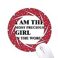 私は、貴重な女の子です 円形滑りゴムの赤のホイールパッド