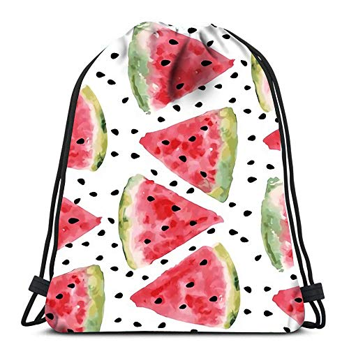 Unisex Drawstring Bags,Sweet Juicy Pieces Watermelon Watercolor With Seed Foldable Tote Sack Cinch Bag Men & Women Drawstring Backpack Sport Gym Bag For Traveling School Climbing