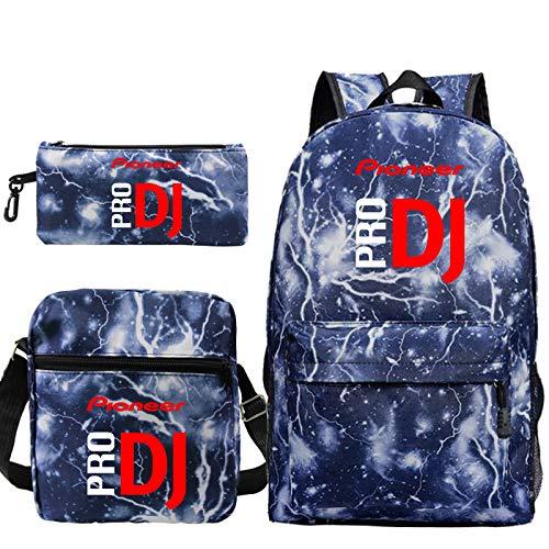 3Pcs Dj Backpack Men Women Canvas Rucksack Teenagers Boys Girls School Bags Travel Knapsack 6 3Pcs Set