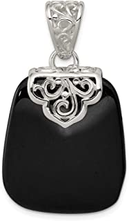 925 Sterling Silver Black Onyx Pendant Charm Necklace Natural Stone Fine Jewelry Gifts For Women For Her