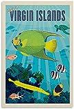 VVBGL Cuadros Decoracion Póster de Viaje Vintage Islas Vírgenes Lienzo Arte de Pared impresión de Cuadros Poster de Decoracion moderna60x90cm x1 Sin Marco