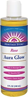 Heritage Store Aura Glow Massage Oil-rose - 8 Oz