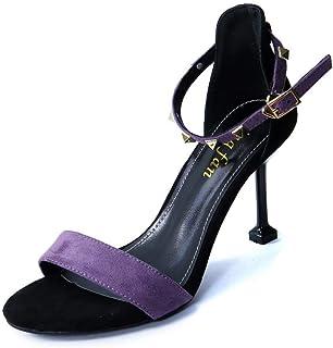 Purple Word Buckle with Sandals Stiletto Heels Women's Shoes