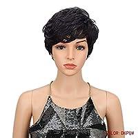 黒人女性のアフリカ系アメリカ人アフロ合成かつら16色耐熱髪のための6インチショートブラウンブロンドウェーブヘアーウィッグ,I