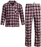 Ten West Apparel Flannel Pajamas Set - Long Sleeve Button Down Sleep Shirt and Flannel Sweatpants Sleepwear Set, Size Large, Brown'