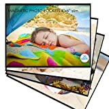 M.MEMO 20 Pack 4'x6' Premium Super Slim Magnetic Picture Pockets Frames with Black Holds 4 x 6 inches Photo for Refrigerator Picture Frames