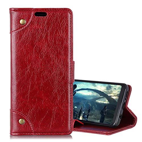 VCX beschermhoes voor Huawei Mate 20 Lite, van koper, kwast, horizontale textuur, met kaartvakken en portemonnee, zwart, Wijn Rood