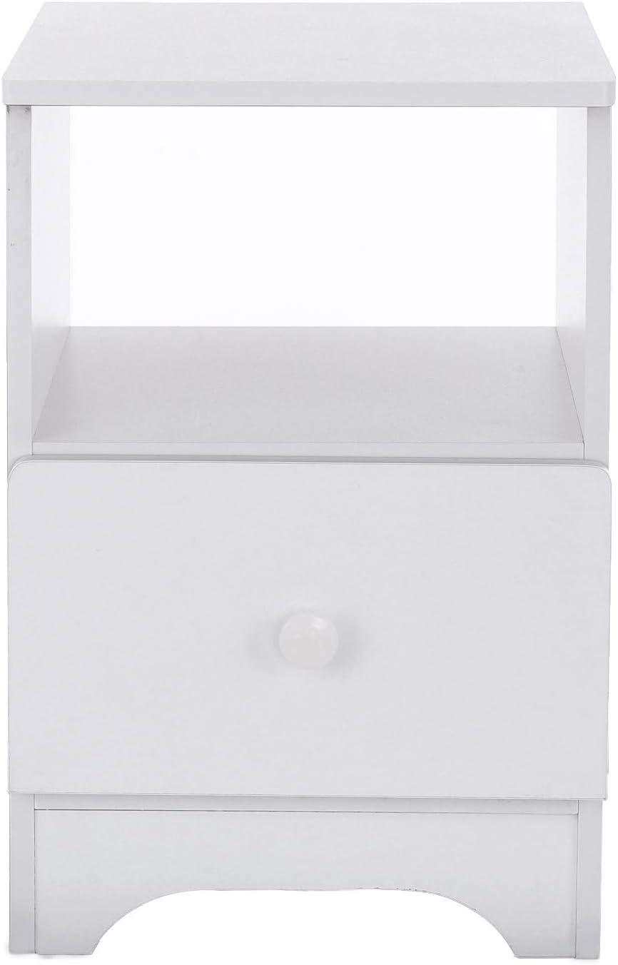 11.8x12.6x17.7in, White Huitrady Bedside Cabinet Simple Nightstand Bedroom Bedside Cabinet Locker Single Drawer