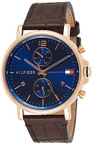 Tommy Hilfiger Reloj Analógico para Hombre de Cuarzo con Correa en Cuero 1710418