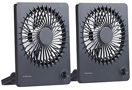 PEARL Akku Ventilator: 2er-Set Kompakter Akku-Tisch- & Wandventilator, stufenlos einstellbar (Hänge-Ventilator)
