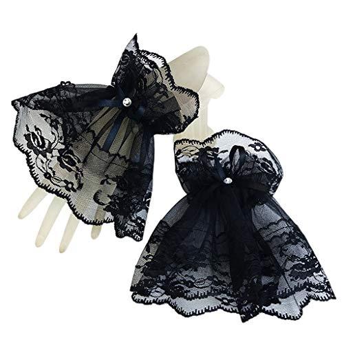 kdjsic Mujeres Halloween gótico Encaje Negro muñequeras Pulseras Banquete de Boda Protector Solar Diamantes de imitación Bowknot Guantes sin Dedos