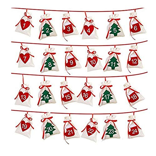 Yue668 - Calendario de guirnalda navideña 11 x 16 cm, regalo de Navidad colgante de bolsas, calendario de cuenta atrás de 24 días, Candy Bags