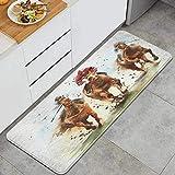 PANILUR Alfombras para Cocina Baño de Cocina,Pintura a la Acuarela Carrera de Caballos Equitación Deporte Jinetes Competencia Recreación Derby Pista Apuesta Ganar Curso,para Dormitorio Baño