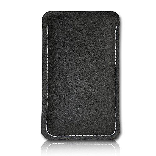 sw-mobile-shop Filz Style Mobistel Cynus E4 Premium Filz Handy Tasche Hülle Etui passgenau für Mobistel Cynus E4 - Farbe schwarz
