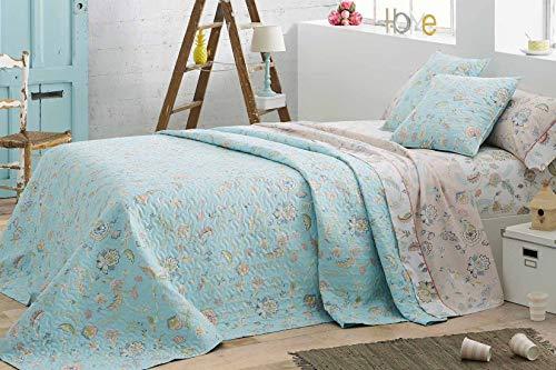 Burrito Blanco Colcha Boutí 418 con Acolchado Ligero + 2 Fundas Cuadrante con un Diseño Estampado de Flores para Cama de Matrimonio de 150x190 cm | Colcha Cama 150, Color Azul