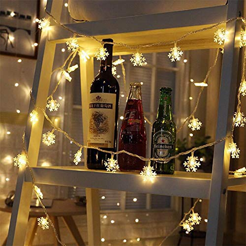 Snowflake String Lights, 10FT 30 LEDs Snow Fairy Lights Battery Powered Christmas Party Decoration Christmas Tree Indoor Outdoor Wedding Garden