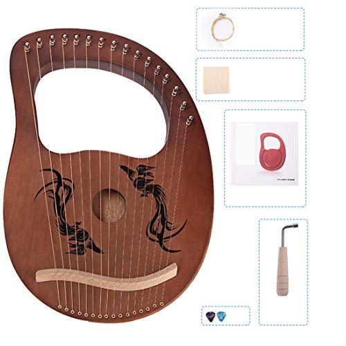 Lira Arpa Arpa China 16 Metal Cuerda de Arpa Heptachord de Solidwood Caoba lejía Arpa con Llave de afinación para Amantes de la música Principiantes Adultos Niños