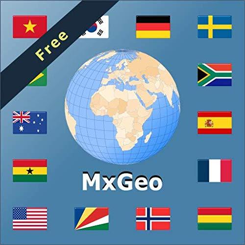 Atlas mundial e mapa do mundo e quiz de geografia MxGeo Free