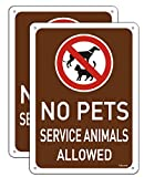 2 Pack No Pets Signs, Service Animals Allowed Signs Metal Reflective 10' x 7' Rust Free Aluminum, UV Protected Waterproof and Durable, Easy Mounting, Outdoor or Indoor Use, Fade-Resistant
