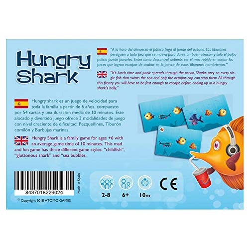 Atomo games- Hungry Shark Juego de Cartas (8437018229024)