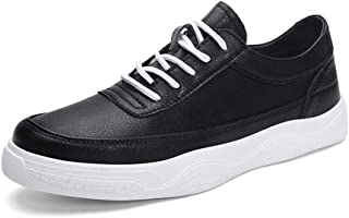 XUJW-Shoes, Fashion Sneaker for Men Sports Shoes Lace Up Style PU Leather Soft Round Toe Solid Colors Easy Care Durable Comfortable Walking Shopping Travel Driving (Color : Black, Size : 8.5 UK)