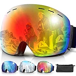 amzdeal ski goggles, snowboard goggles snow goggles with double lens anti-fog UV400 protection OTG for spectacle wearers and helmet compatible for women and men (red)