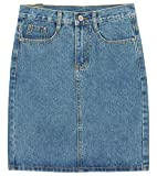 chouyatou Women's Basic Five-Pocket Rugged Wear Denim Skirt with Slit (Large, Light Blue)
