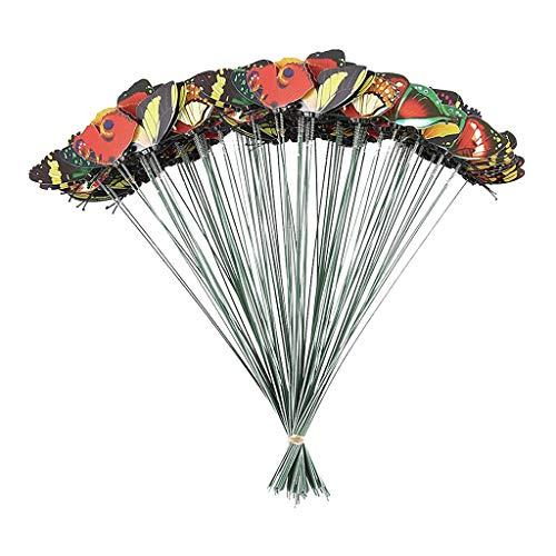 Colorful Garden Butterflies, 100PCS Outdoor Metal Butterfly, Waterproof Patio Butterfly Ornaments on Sticks Garden Wall Art Decorative for Plant Decoration, Outdoor Yard, Garden Decor