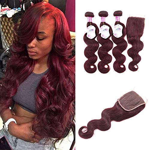 Anruina 99j hair bundles with closure Brazilian 3 Bundles With Closure body wave hair bundles with closure Brazilian burgundy bundles with closure 4x4 Lace Top Closure Free Part 12 14 16 and 10