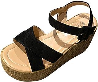 fb943fc88e4 Logobeing Sandalias Plataforma Mujer Planas Bohemia Tacón Alto de Playa  Peep Toe Cuñas De Fondo Grueso