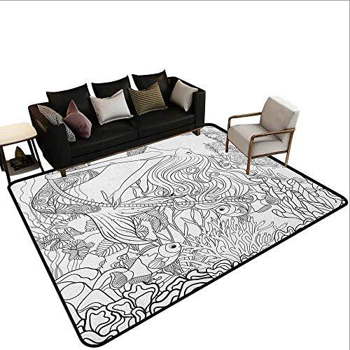 MsShe Outdoor tapijt Zeemeermin, Spirituele Magische Zeemeermin Vrouw in Golven met Shell Bloem Nymph Mythologische Art Print, Grijs
