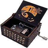 holyfly Caja de música de madera con diseño de la pesadilla antes de Navidad, con manivela, grabada vintage, caja de música, regalo para cumpleaños, Navidad, decoración del hogar