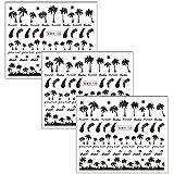 FUNDOY 3pcs Nail Tropical Style Palm Summer Tree 3D Nail Stickers self-Adhesive...